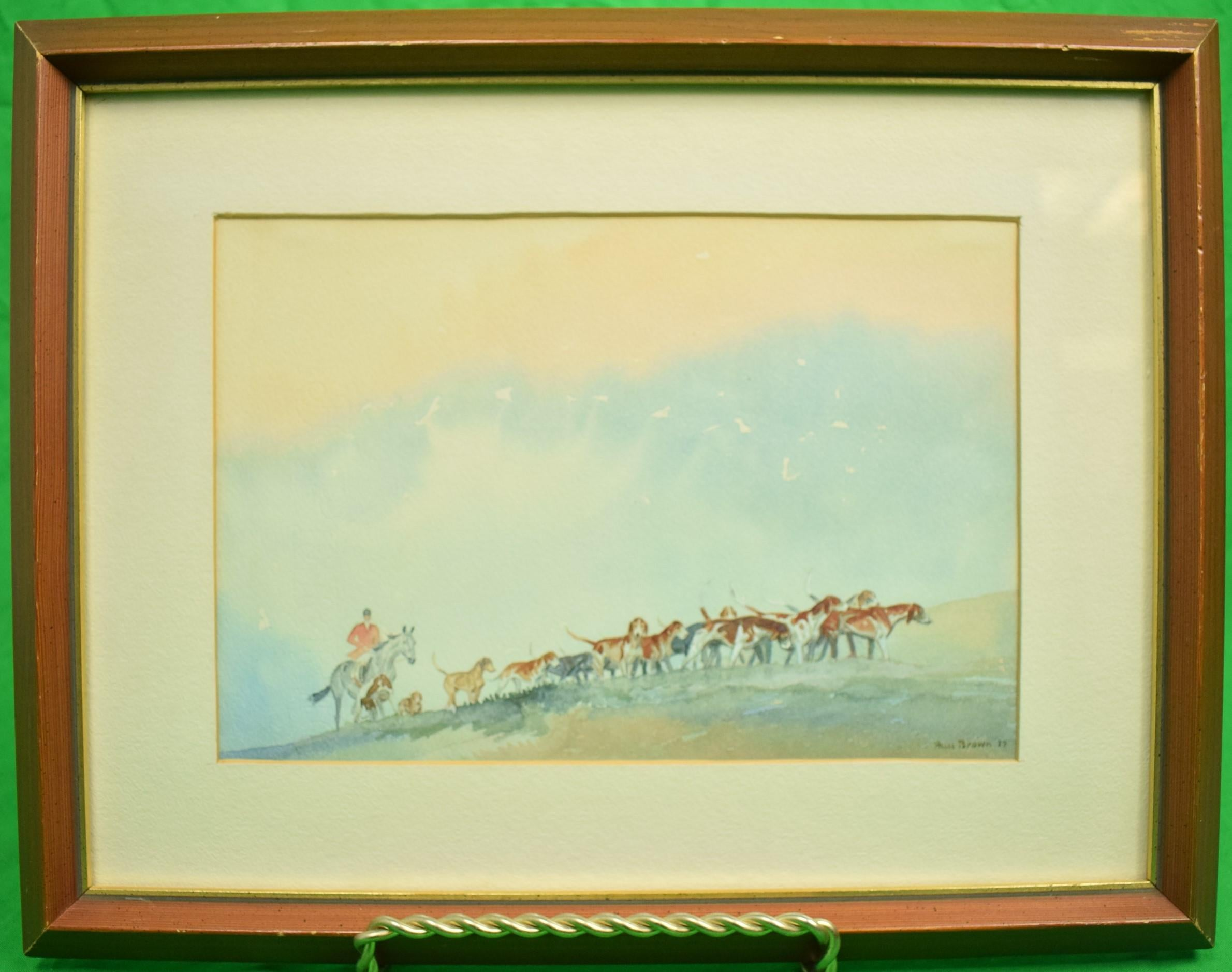 Brown Huntsman w/ Pack of Hounds c1937 Watercolour