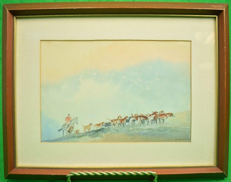Paul Desmond Brown Figurative Art - Brown Huntsman w/ Pack of Hounds c1937 Watercolour