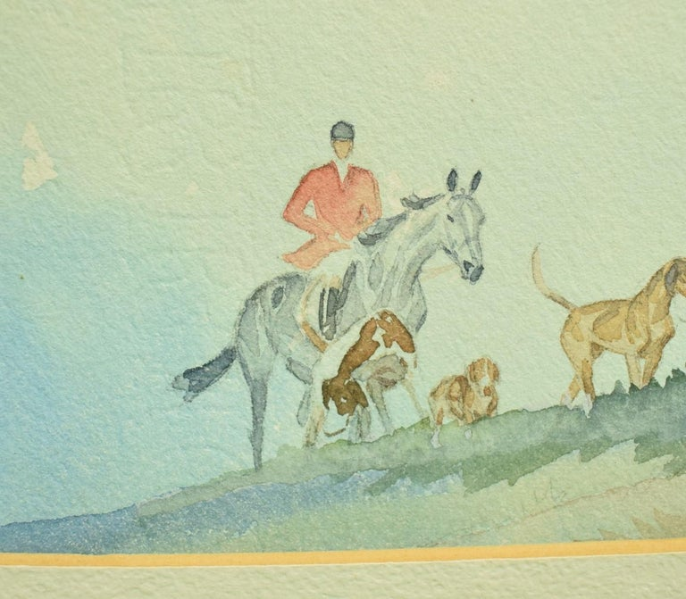 Brown Huntsman w/ Pack of Hounds c1937 Watercolour For Sale 1