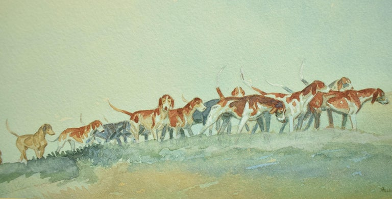 Brown Huntsman w/ Pack of Hounds c1937 Watercolour For Sale 2