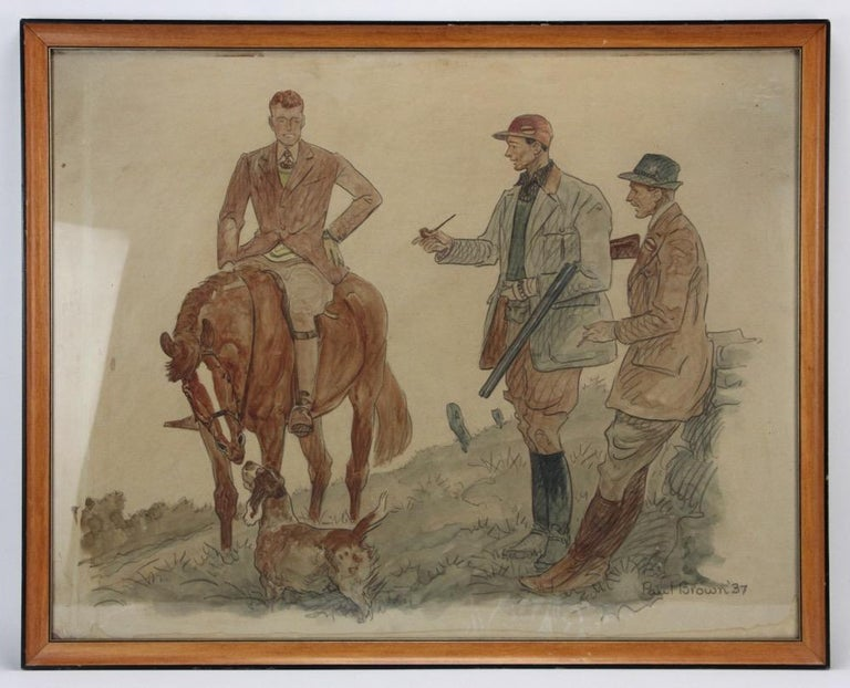 Hunters & Hound Watercolour & Ink on Paper 1937 by Paul Desmond Brown For Sale 1