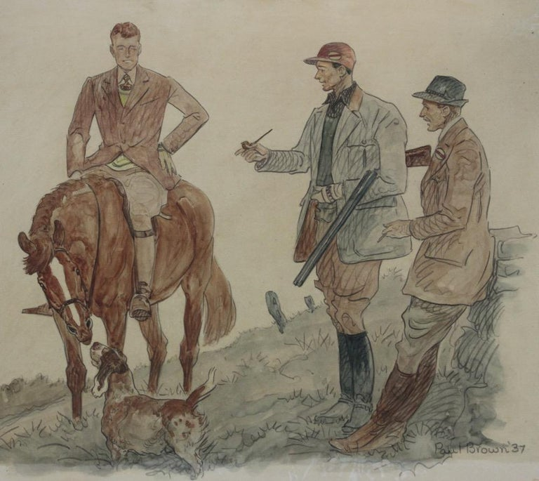 Hunters & Hound Watercolour & Ink on Paper 1937 by Paul Desmond Brown For Sale 2