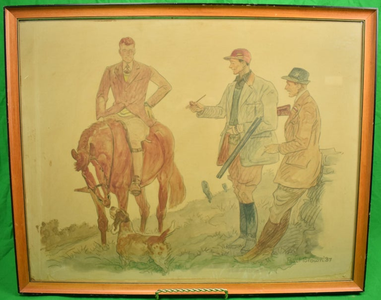 """1937  Image: 22""""H x 28""""W out of Frame  Frame: 24"""" x 29.5""""  On Masonite Board   Paul Desmond Brown (American, 1893-1958),  Hunter on horseback with sporting dog and two hunting companions,  Watercolor and ink on paper, signed and dated 1937 L/R,"""