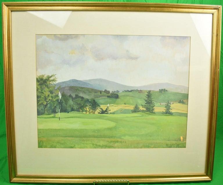 """Unknown Figurative Art - """"Close To The Green"""" Golf Course Watercolour & Gouache Ex-Mary S.B. Braga Estate"""