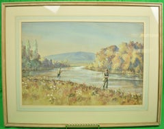 Two Anglers On A Riverbank Watercolour & Gouache by Graham Smith