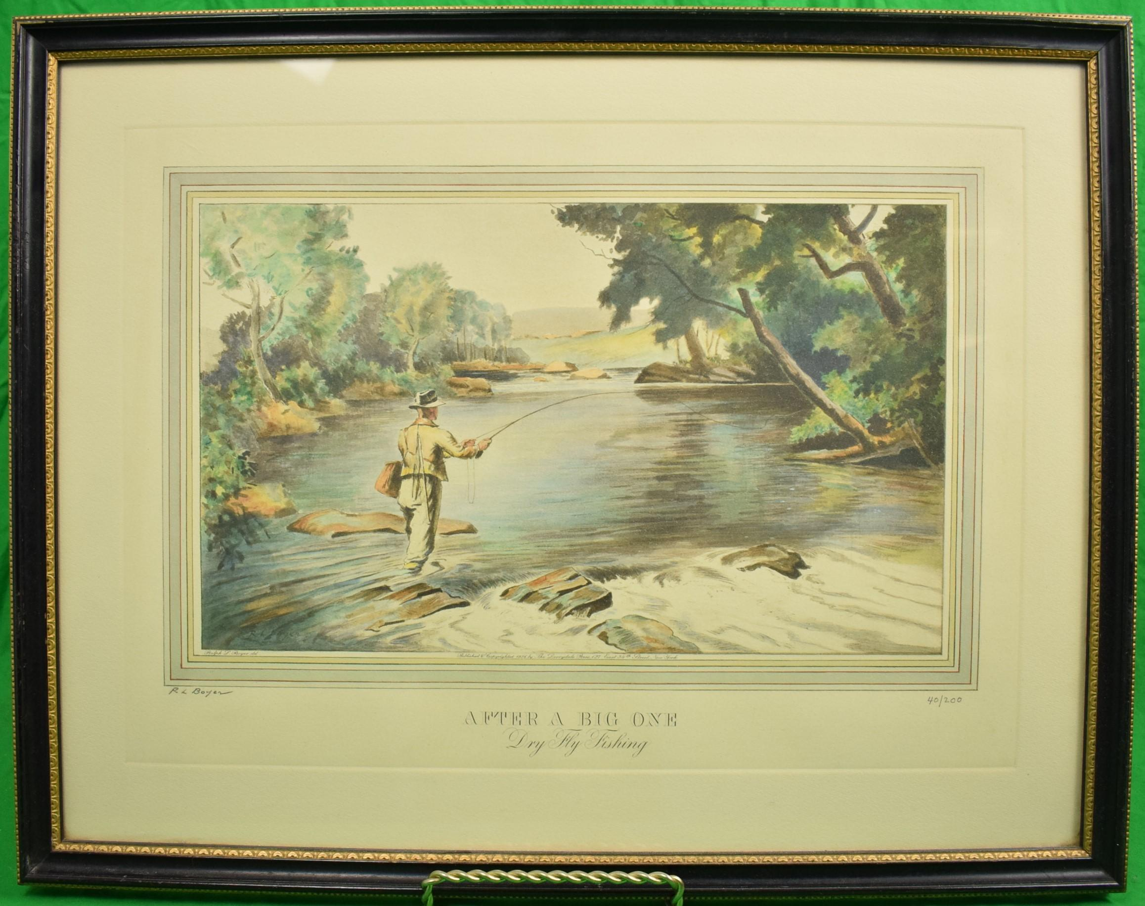 """Ralph L. Boyer 1936 Etching w/ Aquatint """"After a Big One- Dry Fly Fishing"""""""