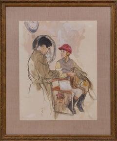 """The Jockey Scale"" Watercolor by Henry Koehler (1927-2019)"