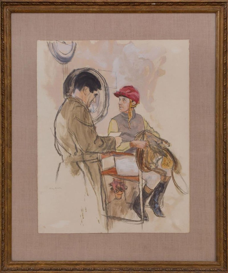 """Watercolor and gouache on paper, signed 'Henry Koehler' lower left. Provenance: Princess Fredericka Ann Guirey, Lyford Cay, Nassau  Art Sz: 23""""H x 18""""W Frame Sz: 32""""H x 28""""W"""