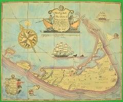 """Watercolor 1921 Map of Nantucket"""