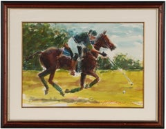 """Polo Player"" Watercolour by Arne Westerman (1927-2017)"