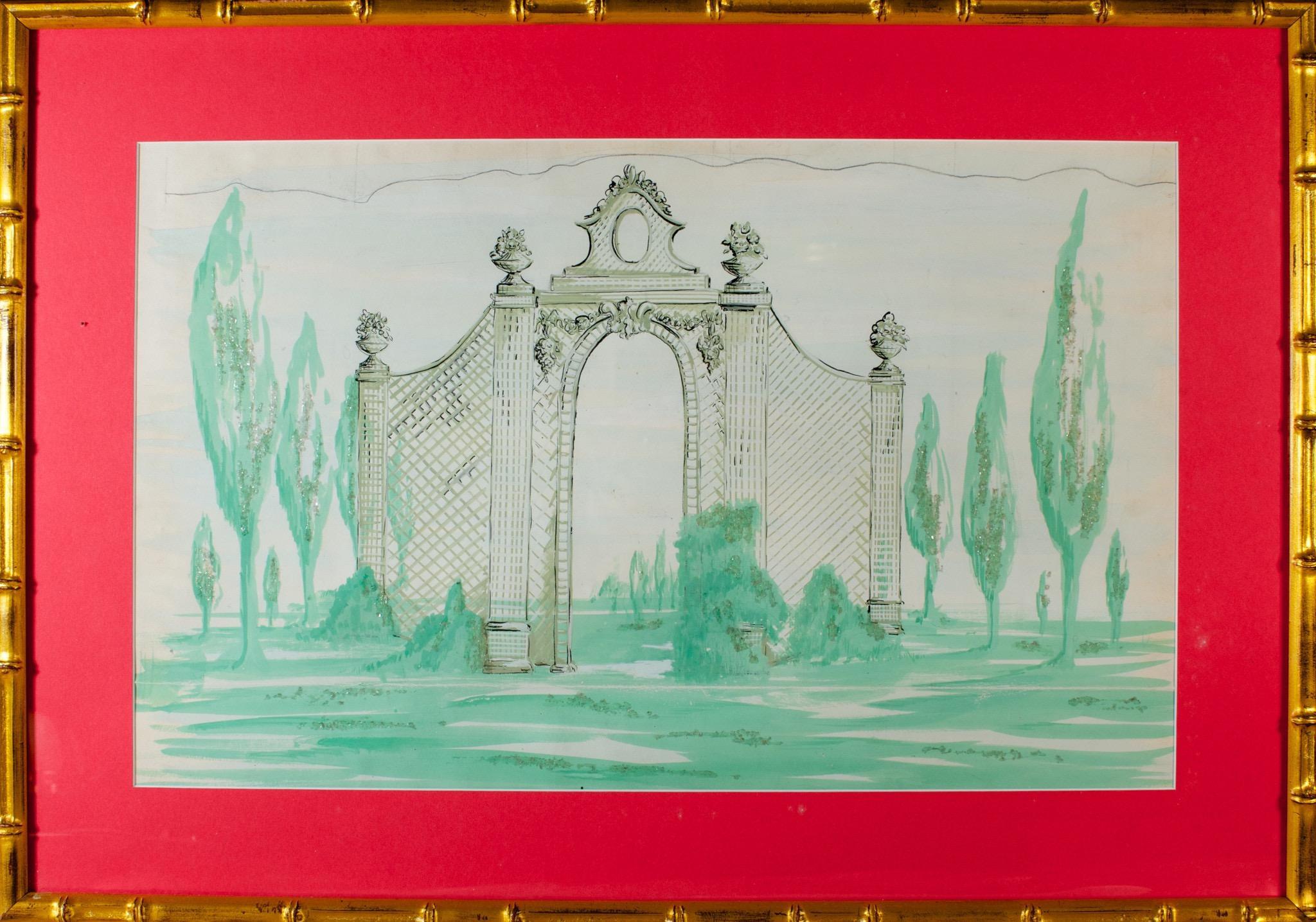 Lanvin of Paris Trellis Gate Watercolour