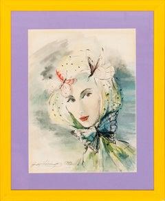 Butterfly Headdress 1945 Watercolour