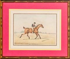 'Jockey Up on Racehorse' Watercolour