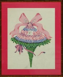 Lanvin of Paris Eye of The Bouquet c.1950's Watercolour