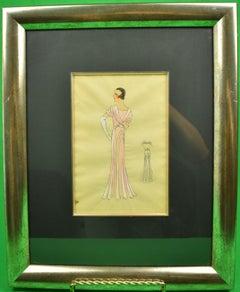 Lanvin of Paris c1920s Fashion Model Original Watercolour