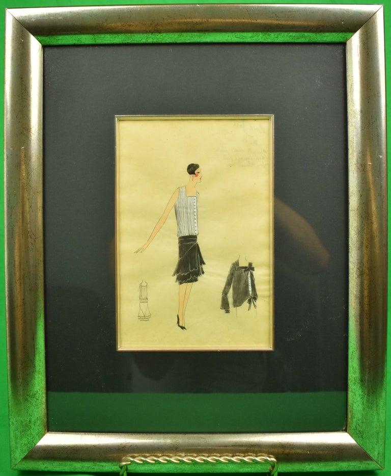 Unknown Figurative Art - Lanvin of Paris c1920s Fashion Model Original Watercolour