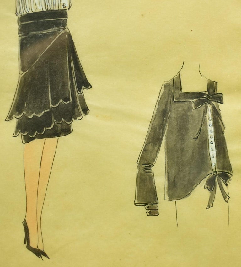 Lanvin of Paris c1920s Fashion Model Original Watercolour - Art by Unknown