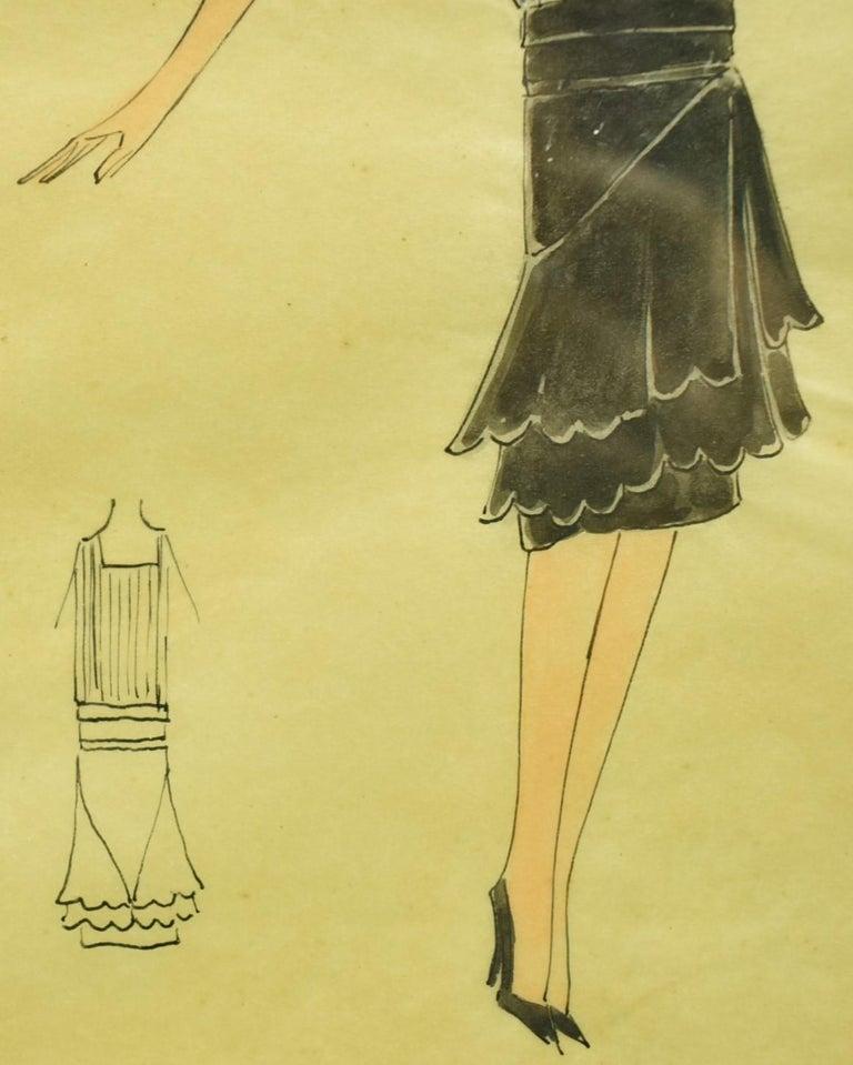 Lanvin of Paris c1920s Fashion Model Original Watercolour - Black Figurative Art by Unknown