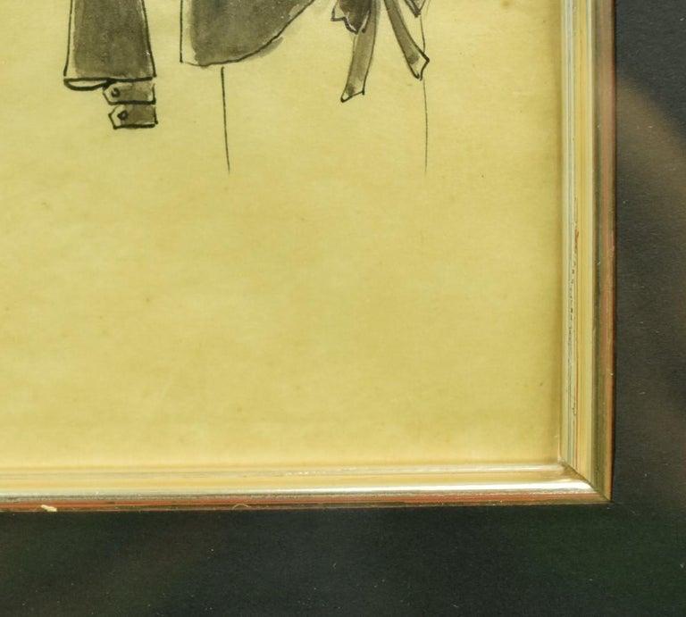 Lanvin of Paris c1920s Fashion Model Original Watercolour For Sale 2