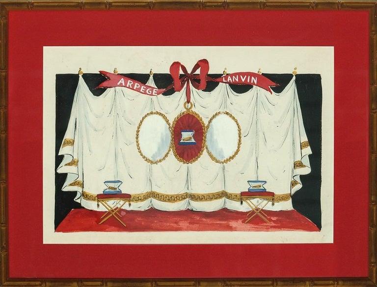 Alexander Warren Montel Figurative Art - Lanvin of Paris Arpege Curtain circa 1950s Watercolour