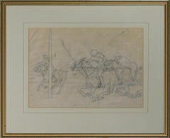 Polo Match Pencil Drawing by Kenneth Stevens MacIntire (1891-1979)