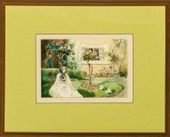 """Lady in a Garden"" 1909 Watercolour"