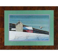 Pheasant Approaching Barn in Winter