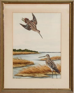 Sandpipers at the Shore Watercolour by Jean Herblet Ex- C.Z. Guest Collection