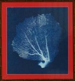 Silk Screen Blue Coral Fan w/ Gilt Bamboo Frame