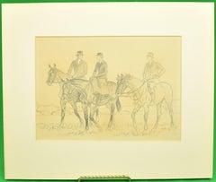 Paul Brown Original c1937 Pencil Drawing w/ 3 Equestrian Riders