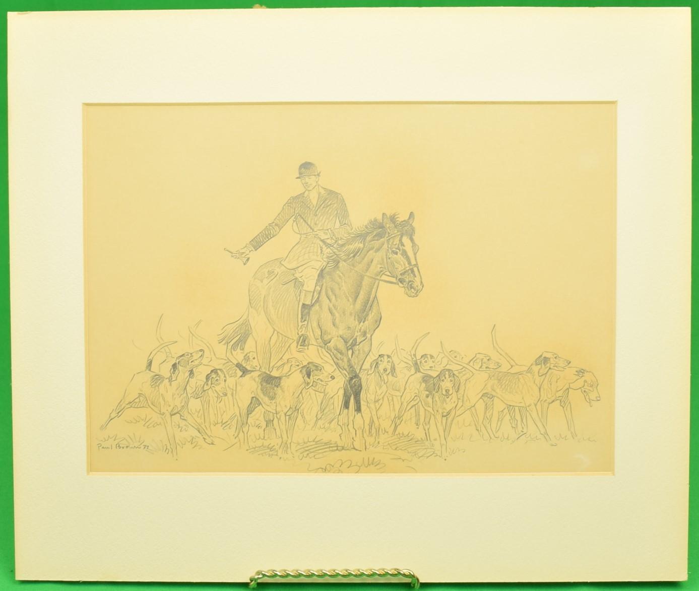 Paul Brown Original c1937 Pencil Drawing Fox-Hunter & Hounds