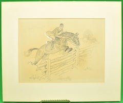 Paul Brown Original c1937 Pencil Drawing Fox-Hunter Clearing Fence