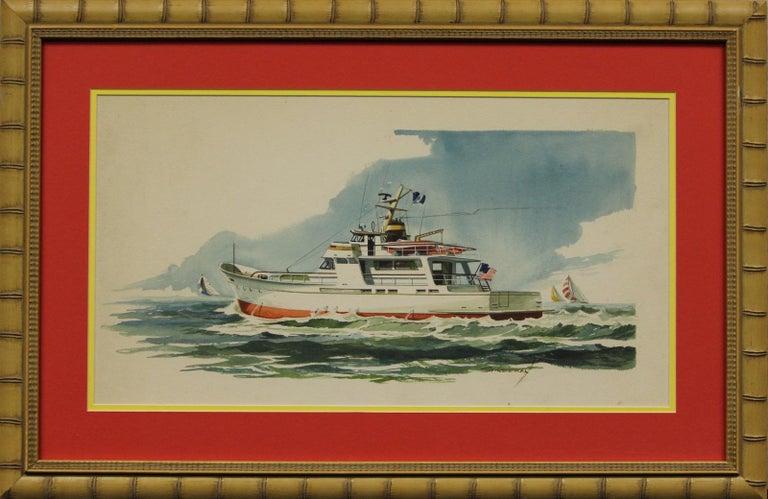 """Unknown Figurative Art - """"Private Yacht"""" Watercolor"""