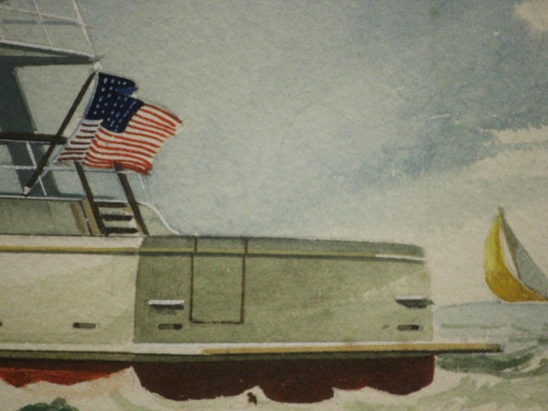 Classic original c1960s yachting watercolour signed (LR) & custom framed  Image Sz: 11