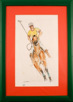 """""""Polo Player"""" circa 1960s Watercolour by 'Wooster'"""