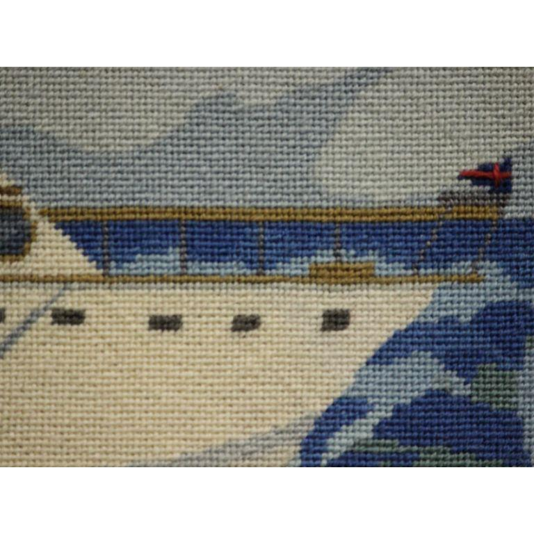Palm Beach fishing yacht circa 1960's hand-needlepoint replete with burgee flag border in a gilt bamboo frame