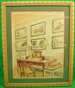 "Watercolour of ""Library Salon Interior"" by Allen Townsend Terrell"