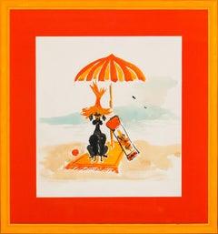 "Lanvin of Paris ""Sun 'n Fun"" Advert circa 1950s Watercolour"