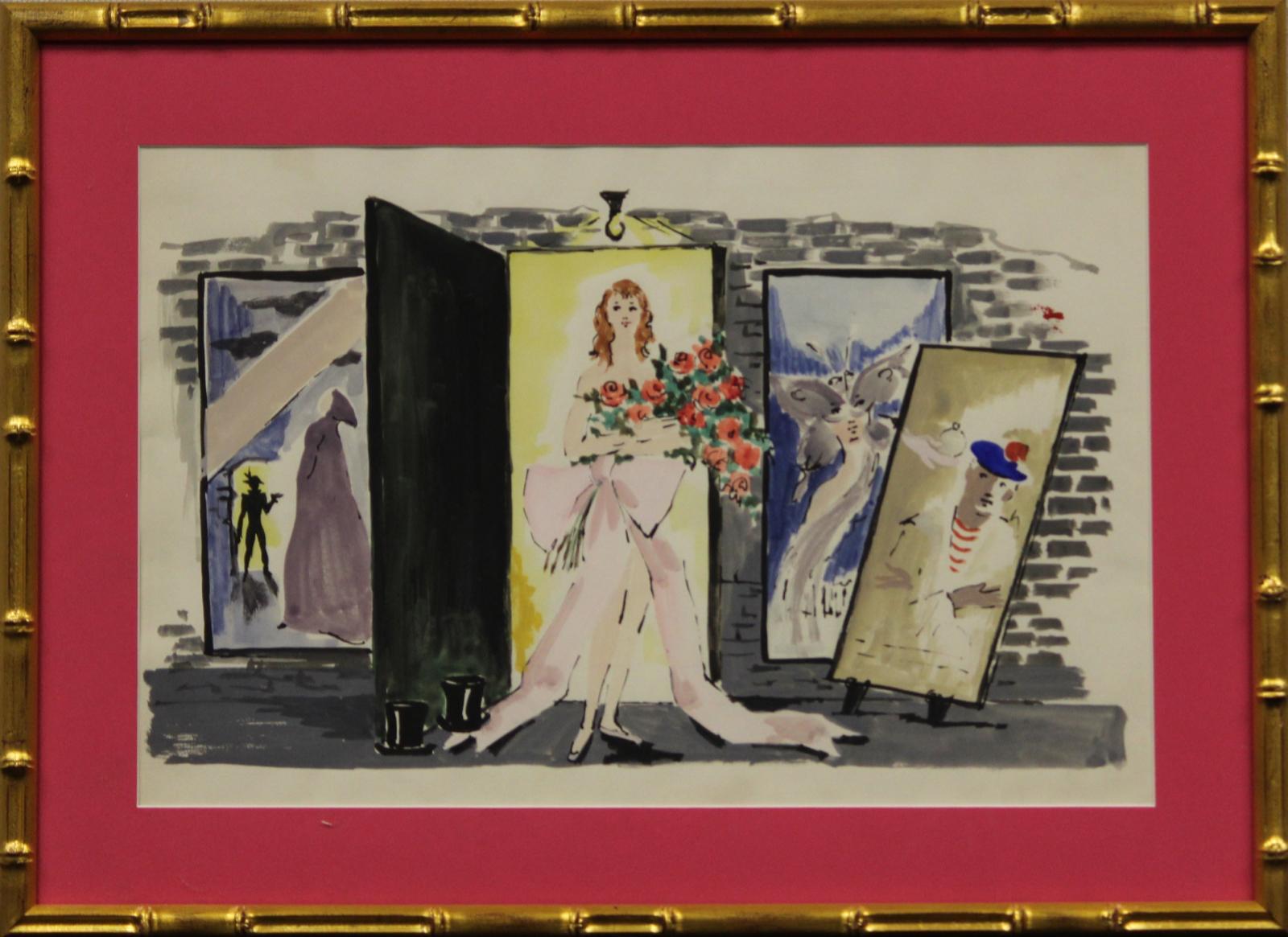 Lanvin of Paris Model with Bouquet of Roses circa 1950's Watercolour