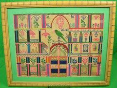 'Parrot Under a Clock Tower' Needlework