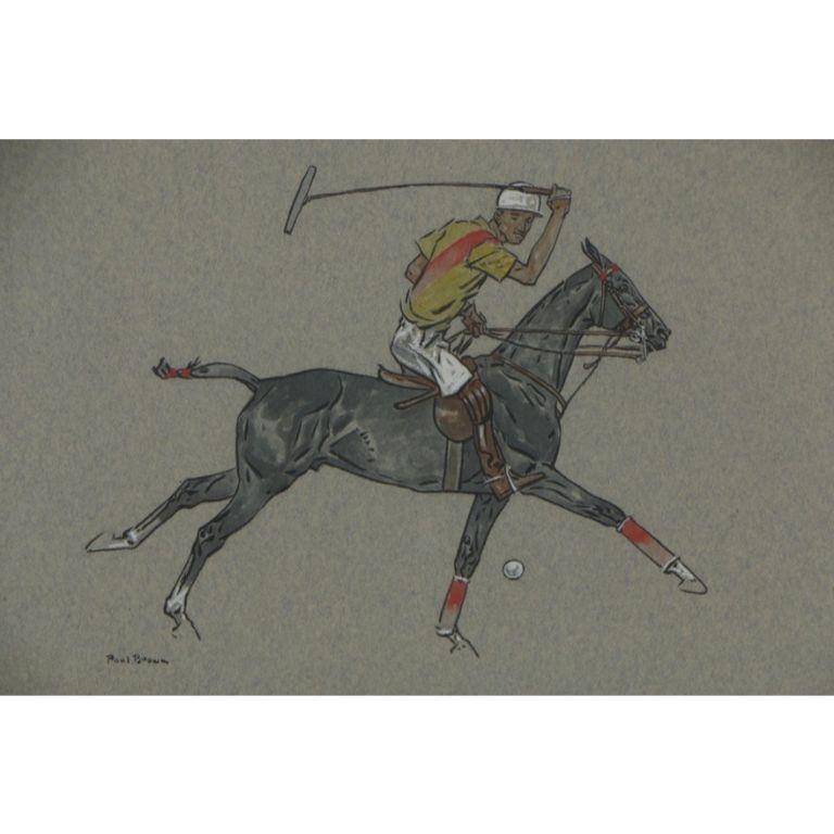 Paul Desmond Brown Watercolour & Gouache Illustration of Polo Player For Sale 1