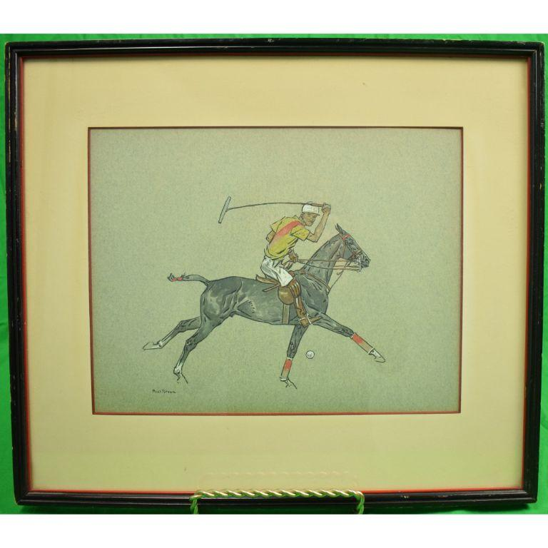 Paul Desmond Brown Watercolour & Gouache Illustration of Polo Player - Beige Figurative Art by Paul Desmond Brown