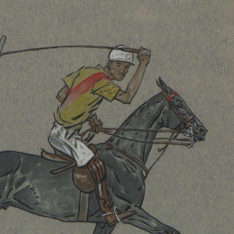 Paul Desmond Brown Watercolour & Gouache Illustration of Polo Player For Sale 2