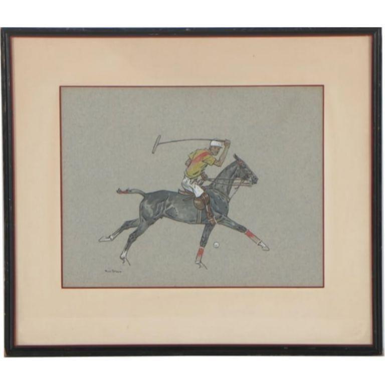 Paul Desmond Brown Watercolour & Gouache Illustration of Polo Player