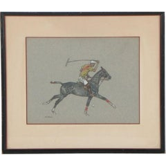 Paul Desmond Brown Watercolour & Gouache Illustration of Polo Player