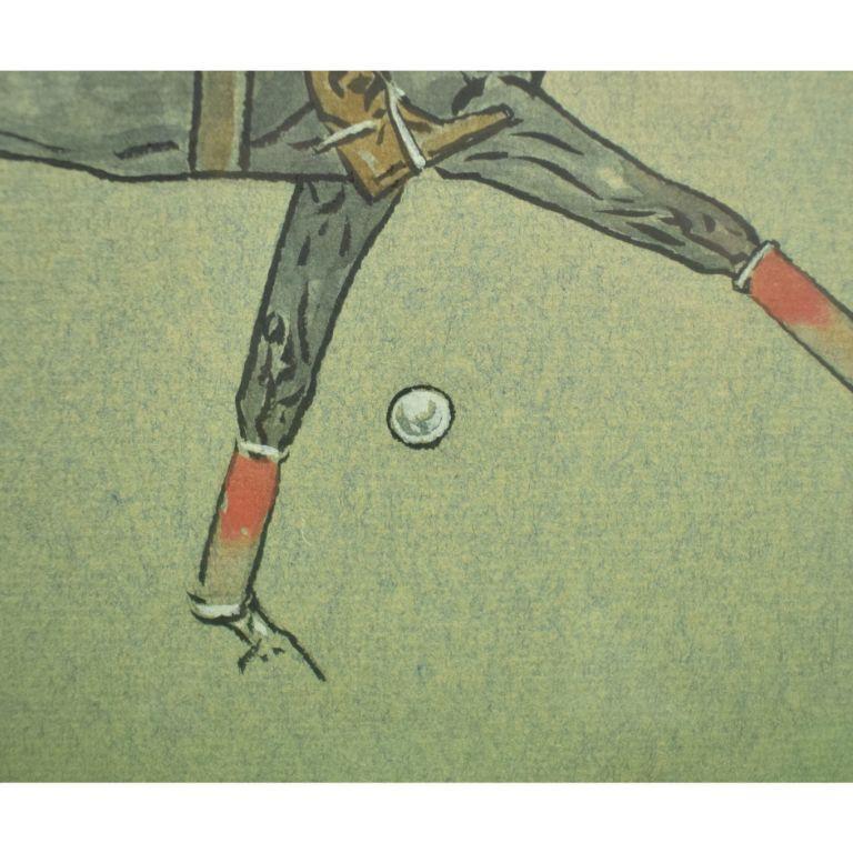 Paul Desmond Brown Watercolour & Gouache Illustration of Polo Player For Sale 5