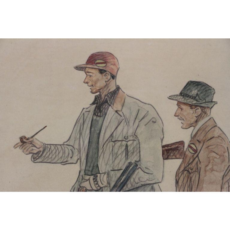Hunters & Hound Watercolour & Ink on Paper 1937 by Paul Desmond Brown For Sale 5
