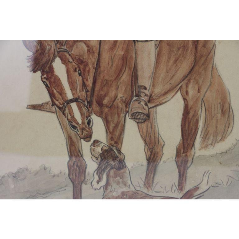 Hunters & Hound Watercolour & Ink on Paper 1937 by Paul Desmond Brown For Sale 6