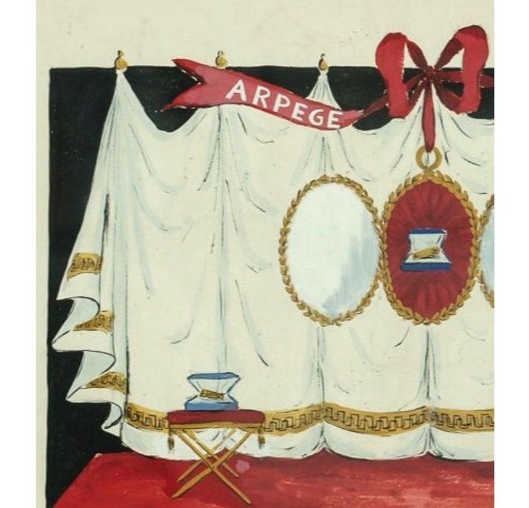 Lanvin of Paris Arpege Curtain circa 1950s Watercolour - Art by Alexander Warren Montel