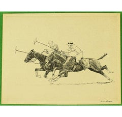 Paul Brown Polo Players 'Down The Field' Drypoint